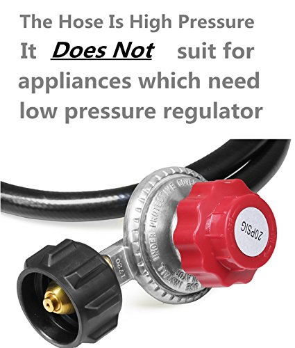 DOZYANT 4 Feet High Pressure Propane 0-20 PSI Adjustable Regulator with 4FT QCC1/Type1 Hose - Fits for Propane Burner Turkey Fryer Smoker and More Appliances - Safety Certified