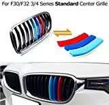 VCiiC Exact Fit ///M-Colored Grille Insert Trims For BMW F30 3 Series 320i 328d 328i 335i and F32 4 Series 428i 435i w/ Standard Kidney Grill (11 Beams), NOT for the 8-Beam Black Grille