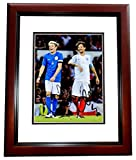 Niall Horan and Louis Tomlinson Signed - Autographed 1D One Direction Soccer 8x10 inch Photo MAHOGANY CUSTOM FRAME - Guaranteed to pass PSA or JSA