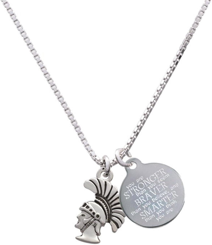 Cheer Bunny Small Trojan Mascot Stronger Braver Smarter Engraved Necklace