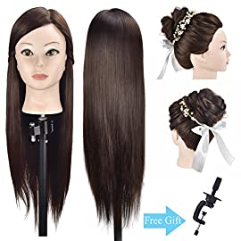 Ba Sha 26″-28″ Mannequin Head Hair Styling Head Hairdresser Training Head Cosmetology Manikin Head Doll Head Synthetic Hair with Free Clamp