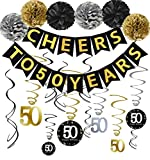50th Birthday Party Decorations Kit - Gold Glittery Cheers to 50 Years Banner,Poms,12Pcs Sparkling 50 Hanging Swirl for 50th Anniversary Decorations 50 Years Old Party Supplies: more info