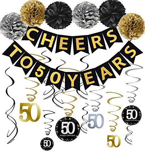 Famoby 50th Birthday Party Decorations Kit - Gold Glittery Cheers to 50 Years Banner,Poms,12Pcs Sparkling 50 Hanging Swirl for 50th Anniversary Decorations 50 Years Old Party Supplies