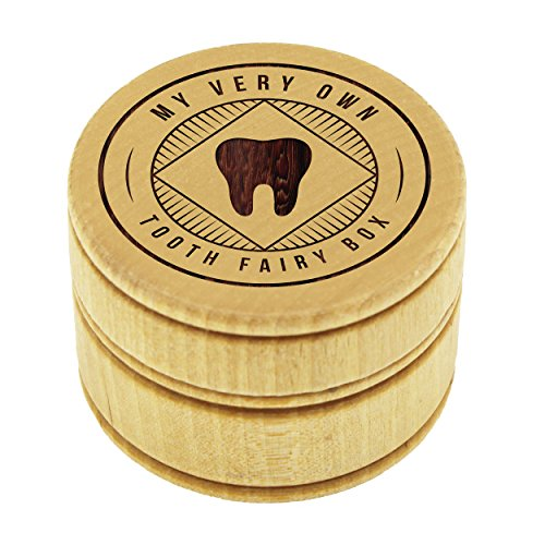 My Personal Memories Wood Tooth Fairy Box for Under Pillow - Baby Keepsake Gift for Boys, Girls, Children, Kids (Stripes Style)
