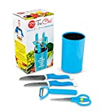 TruChef KIDS Knife Set For Cooking (5 Piece) in Blue – Includes REAL Kids Chef Knife, Paring Knife, Peeler, Scissors and Universal Holder – Best Kids Gift