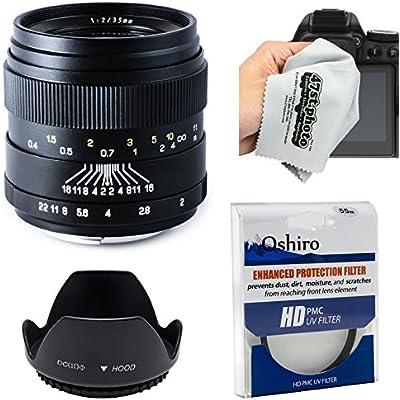 Oshiro 35mm f/2 LD UNC AL Wide Angle Full Frame Prime Lens with Hood, UV Filter, Microfiber Cloth for Canon EOS 70D, 60D, 50D, 7D, 6D, 5D, T6i, T6s, T5i, T5, T4i, T3i, T3 and T2i Digital SLR Cameras