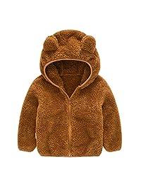 jeepjin Infant Baby Boys Girls Cartoon Fleece Hooded Jacket Coat with Ears Warm Outwear Full Zipper for 6M-4T