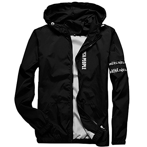 Homaok Men's Lightweight Breathable Jacket Large Black by Homaok