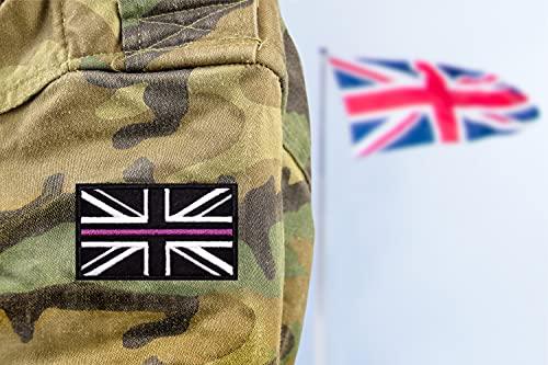 AXEN British Union Jack Velcro Patch Purple Line United Kingdom Flag Patch British Union Patches Tactical Patches Hook and Loop Applique for Military Uniform Tactical Bag Jacket Jeans Hat, 2pcs