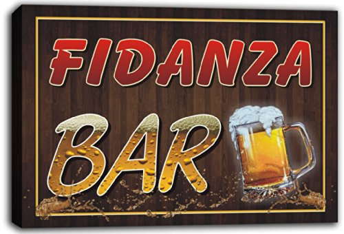 scw3-061271 FIDANZA Name Home Bar Pub Beer Mugs Stretched Canvas Print Sign