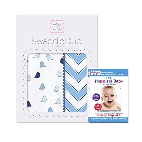 SwaddleDesigns SwaddleDuo, Set of 2 Swaddling Blankets + The Happiest Baby DVD Bundle, Blue Chic Chevron Duo