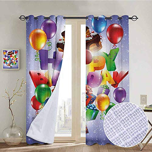 NUOMANAN Customized Curtains Birthday,Presents Fun Balloons Curly Ribbons and Cake witn Candles Stars Background Print,Multicolor,Blackout Draperies for Bedroom Living Room 120