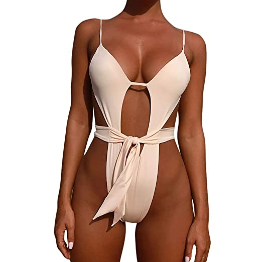 53de3c0fd2 Saymi Sexy Solid One Piece Swimsuit Monokini Push Up Swimwear Bathing Suits  (White, M