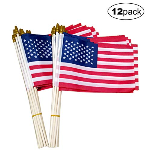 Small American Flags-12 Pack, 5.5x8.2 Inch Small American Flags on Stick, Handheld American Flags on Sticks, for Party Decorations and Parades, School Sport Events, July 4th Decorations Flags