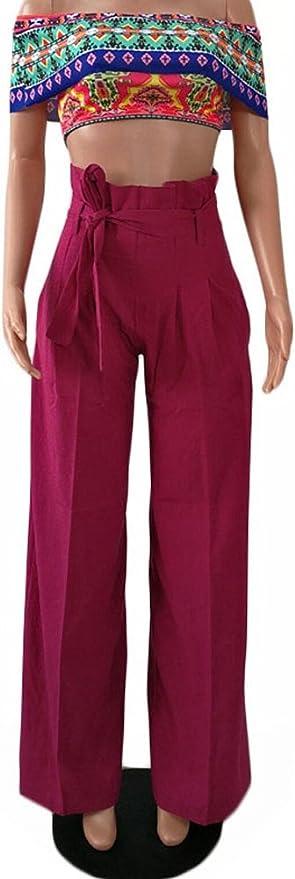 Minetom Mujer Casual Color Solido Ancho Pierna Pantalones Con Cinturon Elegante Moderno Flojos Pantalon Palazzo Culotte Amazon Es Ropa Y Accesorios