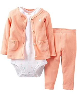 Baby Girls' 3 Piece Cardigan Set (Baby) - Coral