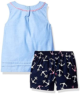 Nautica Girls' Chambray Anchor Printtop with Short Set