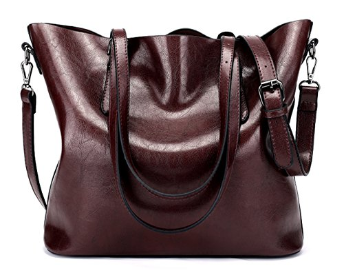 Dreubea Women's Soft Leather Handbag Hobo Crossbody Purse Tote Shoulder Bag Dark Red by Dreubea (Image #7)