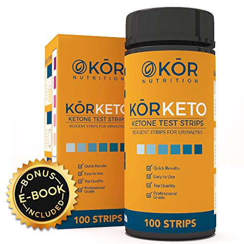 Ketone Strips For Perfect Keto + BONUS Diet eBook - Accurate Test for Ketosis To Maximize Fat Burning On A Low Carb Ketogenic Diet - 100 Professional Testing Strips to Monitor Ketones By Kōr Nutrition