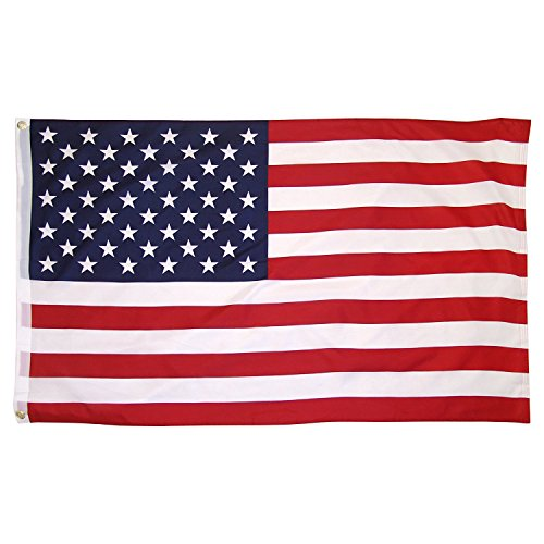 Online Stores Printed Polyester US Flag with Grommets,3 by 5-Feet (3 PACK) (Polyester Printed Flag)