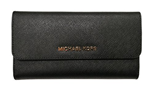 Michael Kors Jet Set Travel Large Saffiano Leather Trifold Wallet (Black)