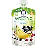 Gerber Organic 3rd Foods Baby Food Bananas, Raspberries and Vanilla with Yogurt, 4.23 Ounce Pouch (Pack of 12)