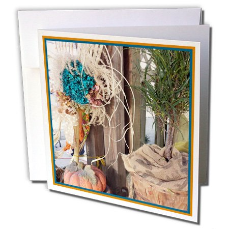 Cindy Thorrington Haggerty FoTog Cinful Seasons - Photo of a rake and bunch of dried flowers with pumpkin - 6 Greeting Cards with envelopes (gc_232803_1)