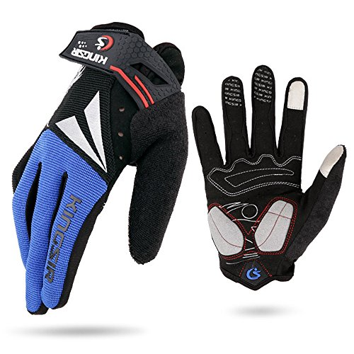 HuwaiH Cycling Gloves Men's/Women's Mountain Bike Gloves Full Finger Biking Gloves | Anti-slip Shock-absorbing Gel Pad Breathable Cycle Gloves (Blue, Large) - Mens Full Finger