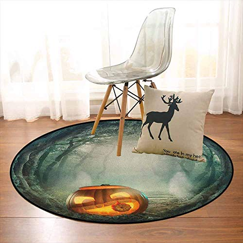 Halloween Better Protection Drawing of Scary Halloween Pumpkin Enchanted Forest Mystic Twilight Party Art Kid Game Carpet D59 Inch Orange -