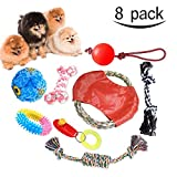 Dog Toys Set (8 Pack) Puppy Toys Chew Toys for Dogs Chew Teething Rope Interactive Toy Dog Frisbee for Small and Medium Sized Dogs by Lamaston