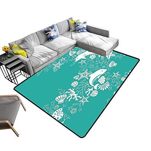 Printed Carpet Dolp Flowers Sea Starfis Coral Seashell Wallpaper P Tern Teal Maximum Absorbent Soft 24 x 40 inch ()