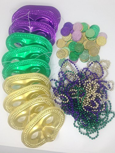 Cheap Mardi Gras Mask (Mardi Gras Party Favor Set With Masks, Bead Necklaces, and Coins)