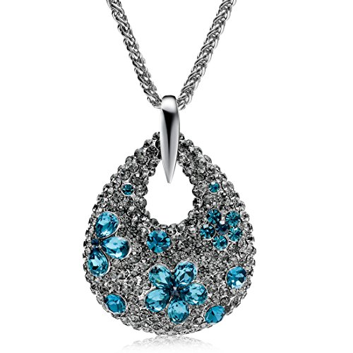Mecoo Fashion Jewelry, Starry Sky Diamante Dewdrop-shape Crystal Sweater Chain, Rhodium Plated or Silver Necklace for Women(silver (Diamond Womens Sweater)