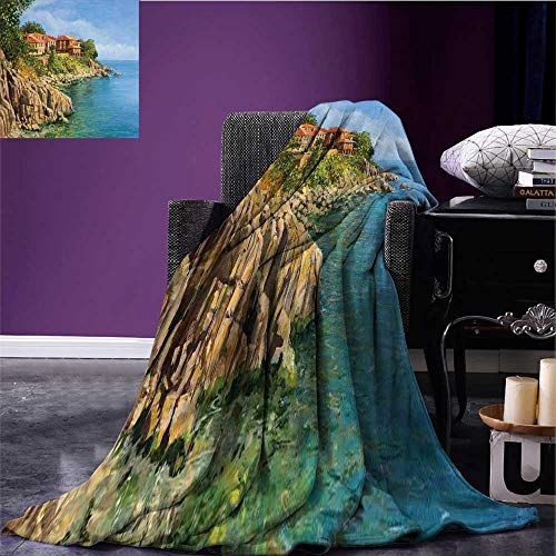 RenteriaDecor Seascape Throw Blanket Tranquil Summer in Sozopol Bulgaria Houses on Rocky Cliffs Sea Print Summer Quilt Comforter Pale Brown Green and Blue Bed or Couch 80