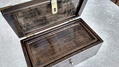 XL Black Maple Stash Box with Rolling Tray Hidden Logo