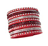 Red and White Rhinestone Studded Red Wide Cuff Wrap Boho Gypsy Bracelet
