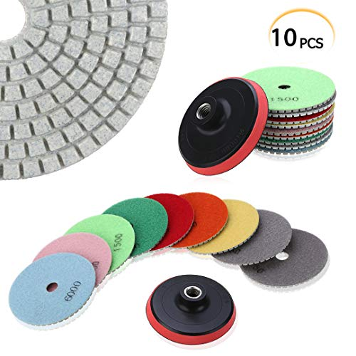 Best Concrete Buffing Pads - PTPTRATE 10pcs 4'' Diamond Polishing Pads