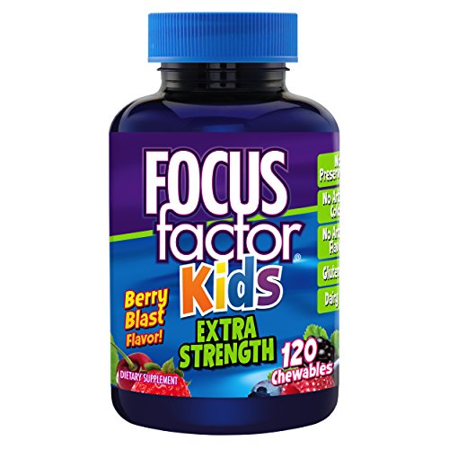 Focus Factor Kids Extra Strength Complete Vitamins: Multivitamin & Neuro Nutrients (Brain Function), Vitamin B12, C, D3, 120 Count, 60 DAY SUPPLY