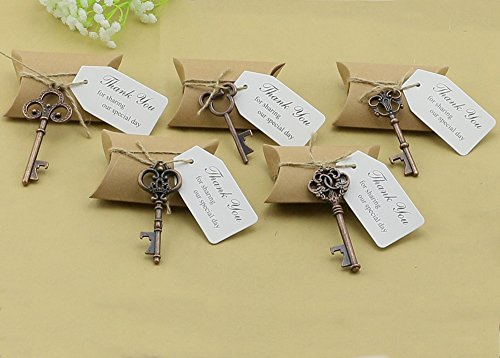 50pcs Wedding Favors Candy Box w/ Antique Skeleton Key Bottle Openers Escort Card Thank You Tag Pillow Box (Key Style - Mixed Copper)