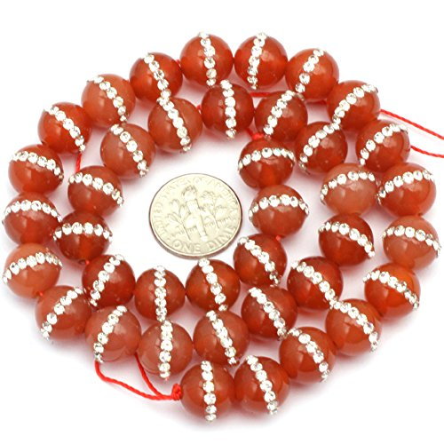 12mm Natural Semi Precious Round Red Agate with Rhinestones Gemstone Beads for Jewelry Making Strand 15