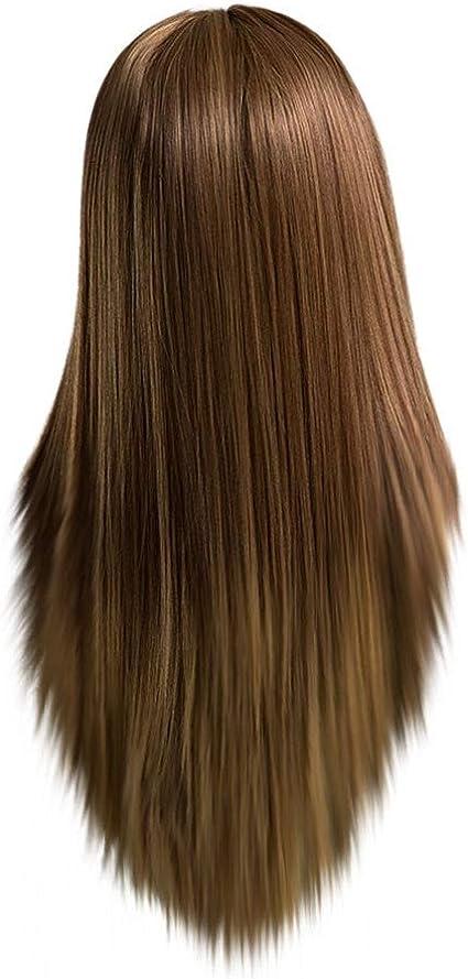 YA-Uzeun Peluca de pelo largo y lacio, color marrón claro ...