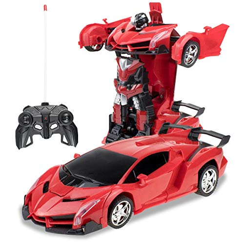karsiqi Deformation Car for Kids, Remote Control Transform Robot Toys for Children, Boys & Girls, Electronic RC Transform Car Robot with One Button Transformation 1:18 Scale (Red)