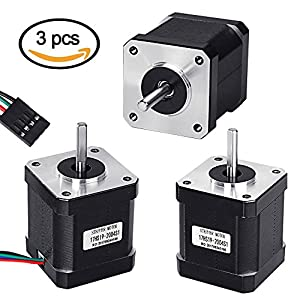 Stepper Motor Nema 17, 3 PCS Nema 17 Stepper Motor 4-lead 1.8 Deg 42 Motor for 3D Printer Hobby CNC Router XYZ (26Ncm/40Ncm/59Ncm)
