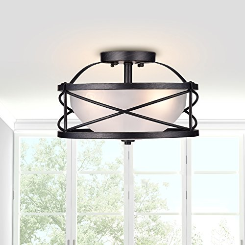 100w Semi Flush (Jojospring Blanca 3-Light Antique Black Finish Opal Glass Shade Semi-Flush Mount Chandelier)