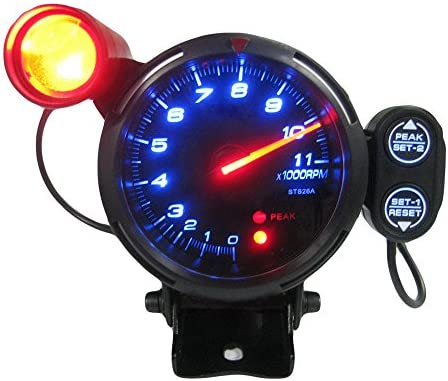 Kkmoon 8 89 Cm Set Tachometer Sonde Blaue Led 11000 Rpm Mit Verstellbarem Wechsellicht Stepping Mikroprozessoren Motor Schwarz Auto