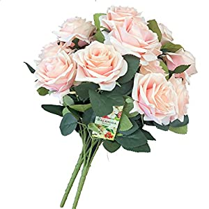 DALAMODA Blush 2 Bundles (with Total 20 Heads) Rose Flower Bouquet, for DIY Any Decoration Artificial Silk Flower(Blush) 107