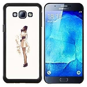 Fashion Girl sepia vestido falda japonesa- Metal de aluminio y de plástico duro Caja del teléfono - Negro - Samsung Galaxy A8 / SM-A800