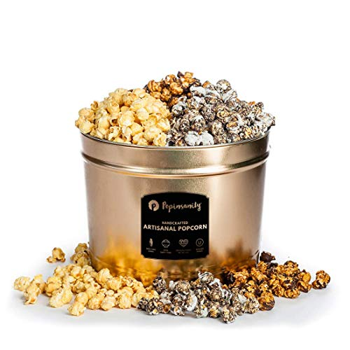 Gourmet Popcorn Multi Flavor Popcorn Tin - 2 Gallon - Sweet & Salty | Cookies & Cream | Caramel Chocolate Drizzle