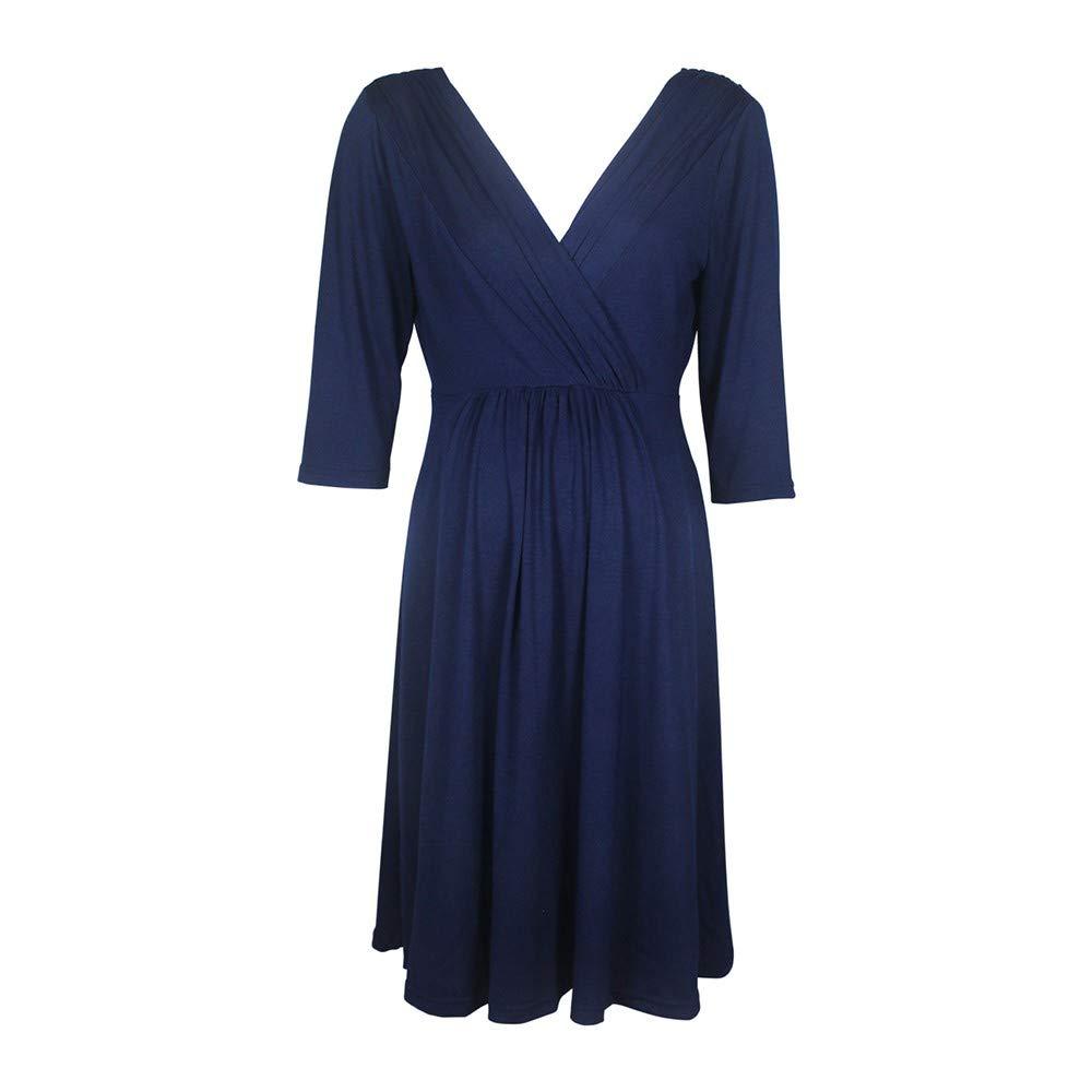 Challyhope Clerance! Women's Maternity Dress Sexy V Neck 3/4 Sleeve Pleated Swing Dress Nursing A-line Sundress (XXL, Navy) by Challyhope (Image #5)