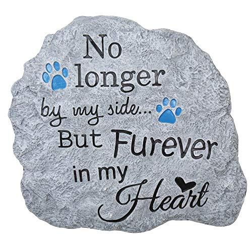 Pawriffic Pet Memorial Garden Stone Wall Art - Indoor/Outdoor Furever in My Heart - Art Stone Plaque